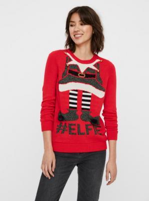 Czerwony sweter ze świątecznym motywem VERO MODA - XS