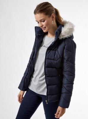 Granatowa pikowana kurtka zimowa Dorothy Perkins - S