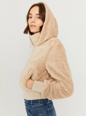 Beżowa kurtka wykonana ze sztucznego futra TALLY WEiJL - XS