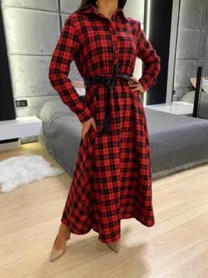Czerwona Sukienka w Kratę Maxi 5331-91