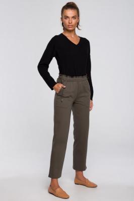 Dzianinowe Spodnie Typu Joggers- oliwkowe