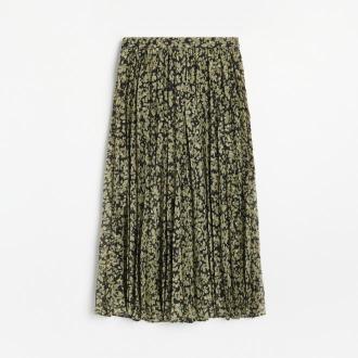 Reserved - Wzorzysta plisowana spódnica - Zielony