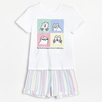 Reserved - Dwuczęściowa piżama Simon's Cat - Biały