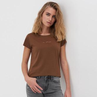 Sinsay - Koszulka z nadrukiem - Brązowy