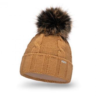 Ciepła czapka damska z pomponem