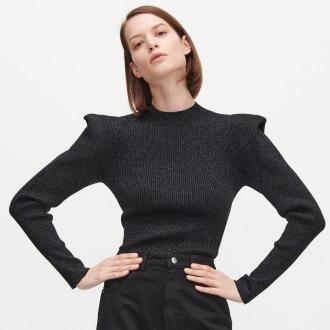 Reserved - Sweter z metalizowaną nitką - Czarny