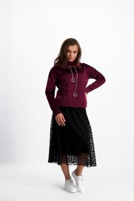 Purpurowa bluza z łańcuszkami Inga 84126