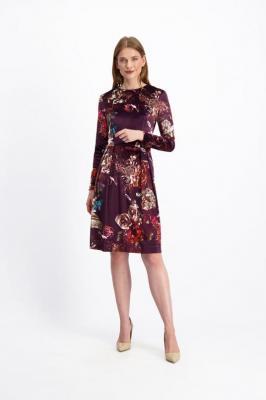 Bordowa sukienka w kwiaty Orsula 84456