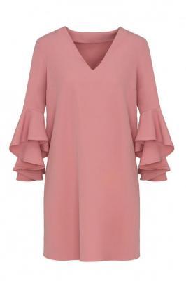 Różowa sukienka z falbanką przy rękawach 84734