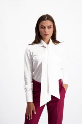 Biała koszula damska z kokardą 84815