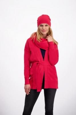 Czerwony kardigan damski z wełny Lana 84836