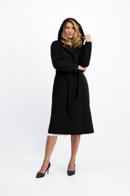 Czarny płaszcz z kapturem Nicola 2 Deep  85212