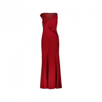 Ralph Lauren Długa suknia Ruffles Sukienki Czerwony Dorośli Kobiety