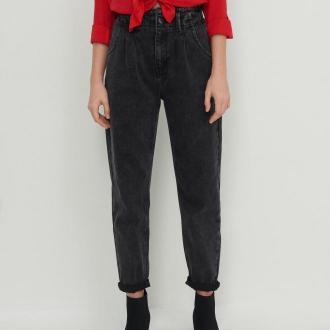 House - Mom jeans z marszczoną talią - Szary