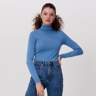 Cropp - Gładki sweter z golfem - Niebieski