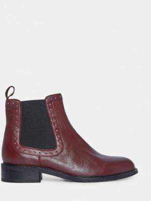 Burgundowe skórzane buty chelsea od Dorothy Perkins - 38