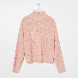 Sinsay - Sweter z golfem - Różowy