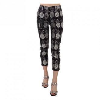 Dolce & Gabbana Print Skinny Capri Pants Spodnie Czarny Dorośli