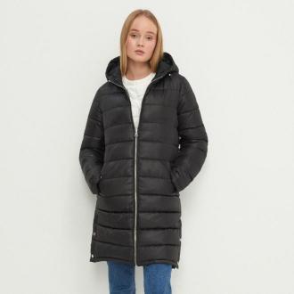 House - Pikowany płaszcz z kapturem - Czarny