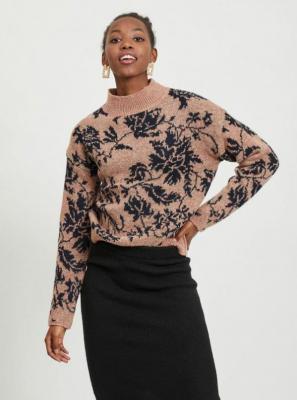 Sweter w różowe kwiaty VILA - L
