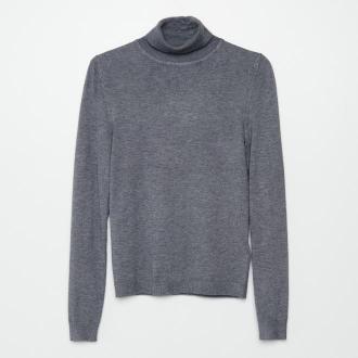 Cropp - Gładki sweter z golfem - Szary