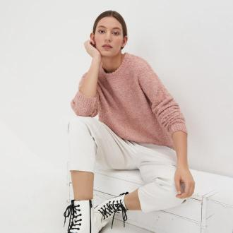 Sinsay - Sweter boucle - Różowy