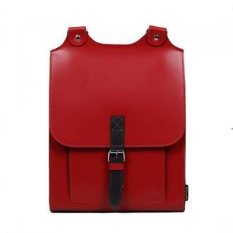 plecak skórzany Bookpack czerwony z czarnym detalem