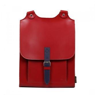 plecak skórzany Bookpack czerwony z niebieskim detalem
