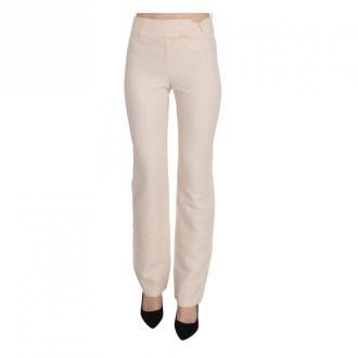 Laurél High Waist Silk Blend Flared Trousers Spodnie Biały Dorośli