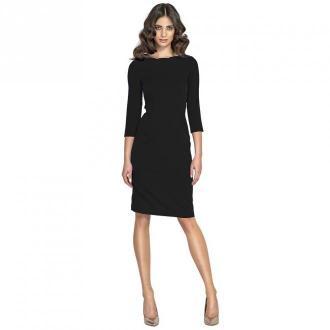 Nife elegancka sukienka z falowanym dekoltem Sukienki Czarny Dorośli