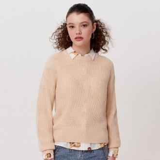 Cropp - Sweter o drobnym splocie - Kremowy