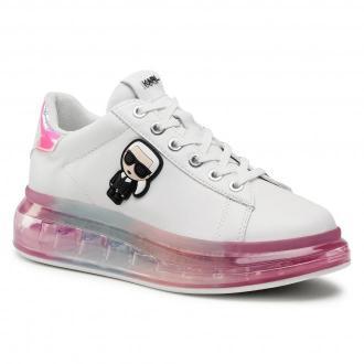 Sneakersy KARL LAGERFELD - KL62689 White Lthr W/Iridescent