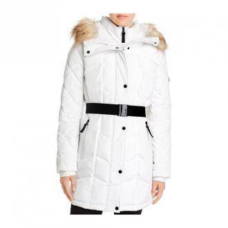 Calvin Klein Kurtka Faux Fur Hood pikowane Kurtki Biały Dorośli