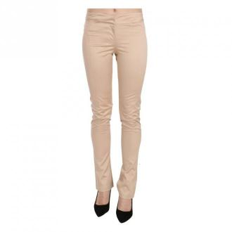 Just Cavalli Low Waist Skinny Formal Trousers Pants Spodnie Beżowy