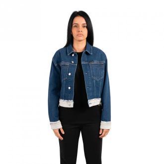 Calvin Klein Jeans Veste cropped omega Kurtki Niebieski Dorośli