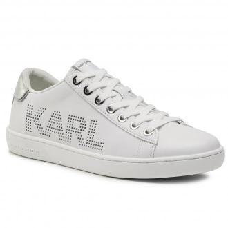 Sneakersy KARL LAGERFELD - KL61220 White Lthr W/Silver