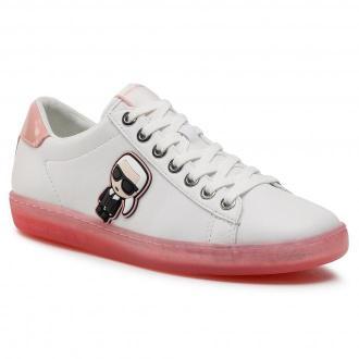 Sneakersy KARL LAGERFELD - KL61229 White Lthr W/Pink