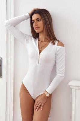 Bawełniane body z wyciętymi ramionami białe 0518