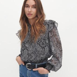 Reserved - Bluzka ze wzorem paisley - Czarny