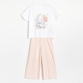 Reserved - Dwuczęściowa piżama z nadrukiem - Biały