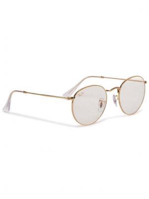 Ray-Ban Okulary przeciwsłoneczne Round Flat Lenses 0RB3447 9196BL Złoty