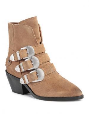 Pepe Jeans Botki Western W Bluckle PLS50392 Brązowy