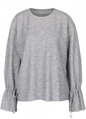 Szary, pręgowany, jasny sweter ze sznurkami VILA Ammie - L