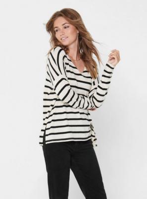 Czarno-biały basic sweter w paski ONLY Mayea - S
