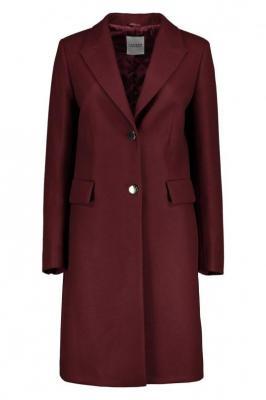 Burgundowy płaszcz z wełny Claudia Vivo 85260