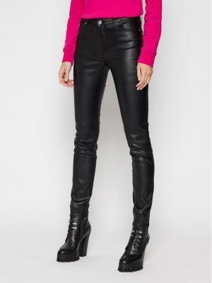 KARL LAGERFELD Spodnie skórzane Metallic 210W1103 Czarny Skinny Fit
