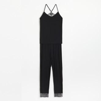 Reserved - Wiskozowa piżama ze spodniami - Czarny
