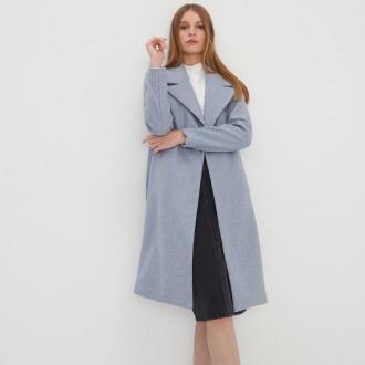 House - Wiązany płaszcz z wiskozą - Niebieski
