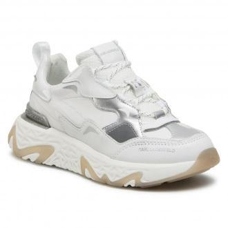 Sneakersy KARL LAGERFELD - KL62420  White Lthr W/Silver