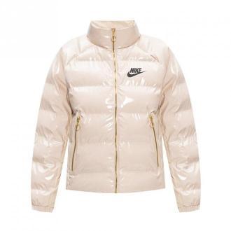 Nike Lakierowana kurtka z logo Kurtki Beżowy Dorośli Kobiety Rozmiar: